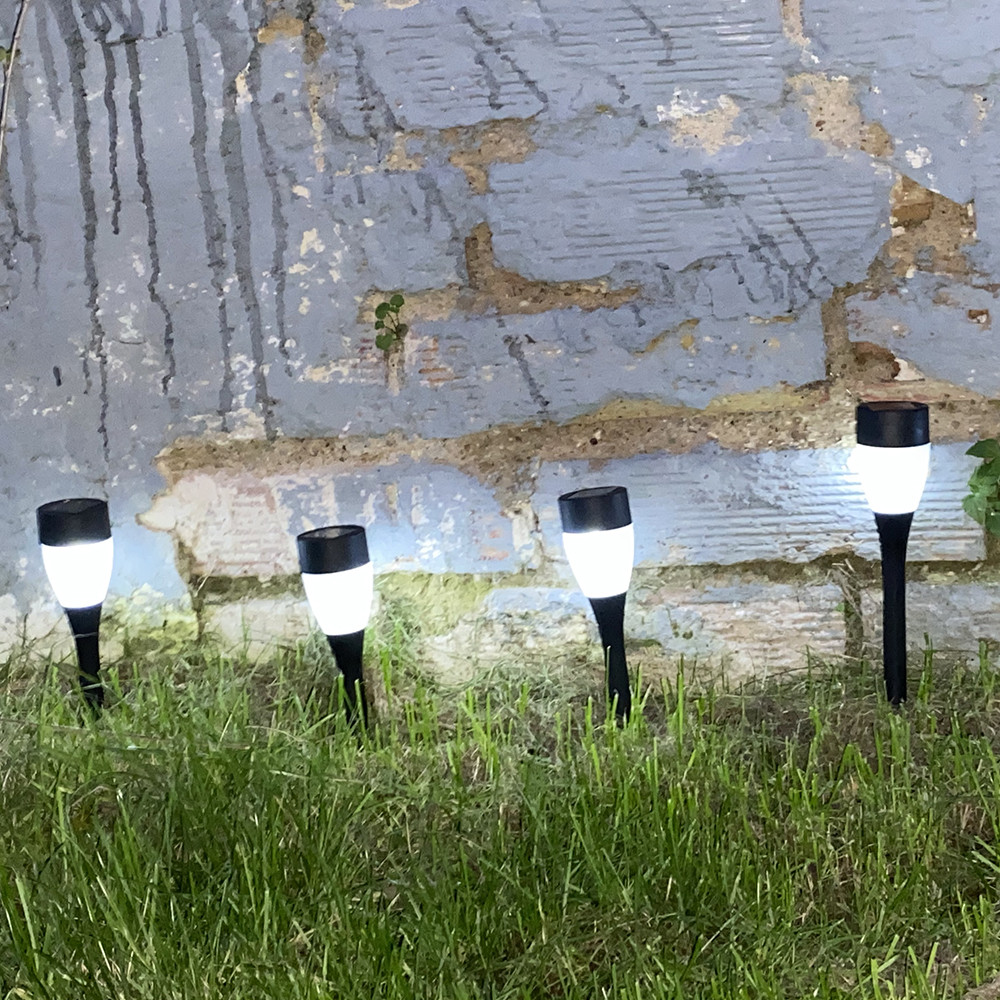 Set of 8 solar powered LED posts, Cool White, IP44 - Outdoor Special
