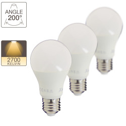 Set of 3 A60 LEDs - E27 base - classic