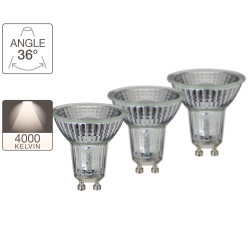Pack de 2 spots LED + 1 gratuite - culot GU10 - LED-X