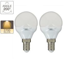 Pack of 2 P45 LED light bulbs - E14 base - classic