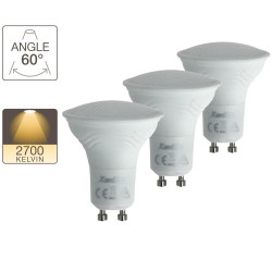 Set of 3 LED spotlight bulbs - GU10 base - classic