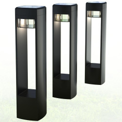 Set of 3 solar powered LED light posts CALLISTO