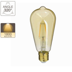 LED bulb (ST64) Edison / Vintage in amber glass, E27 base, 3,8W cons. (30W eq.), 350 lumen, warm white light