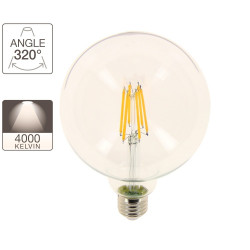 G125 LED filament bulb, E27 base, 10.6W cons. (100W eq.), neutral white light