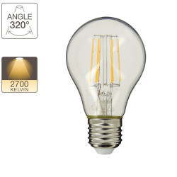 A60 LED filament bulb, E27 base, 4W cons. (40W eq.), warm white light