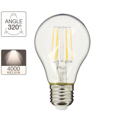 A60 LED filament bulb, E27 base, 7.5W cons. (60W eq.), neutral white light