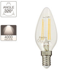 LED flame filament bulb, E14 base, 4W cons. (40W eq.), neutral white light