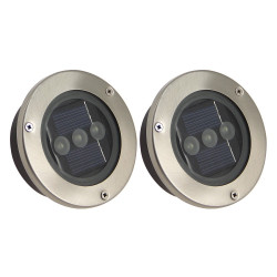 Set of 2 flush fitted solar powered spotlights
