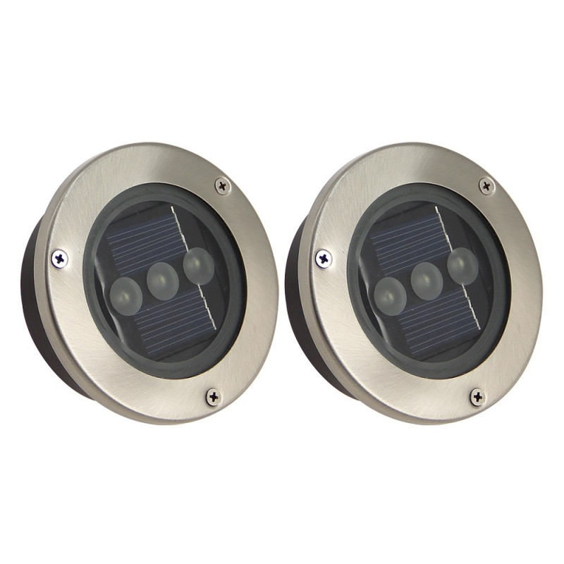 Lot de 2 spots LED encastrables solaires de jardin