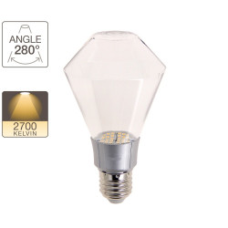 Transparent diamond bulb, E27 base, 8W cons. (50W eq.), warm white