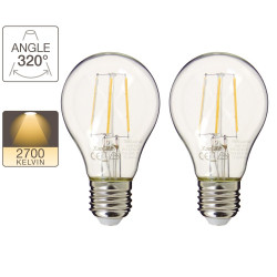 Pack de 2 ampoules LED A60 - culot E27 - retro-LED