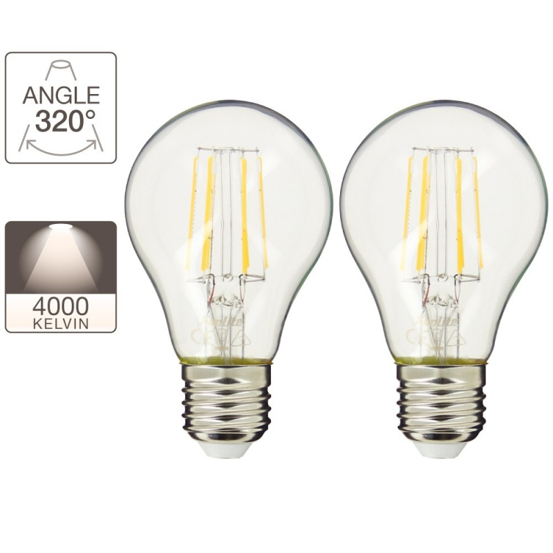 Lot de 2 ampoules A60 - culot E27 - retro-LED