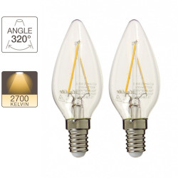Pack de 2 ampoules flamme - culot E14 - retro-LED