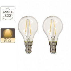 Pack de 2 ampoules P45 - culot E14 - retro-LED