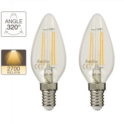 Set of 2 flame LEDs - E14 base - retro-LED
