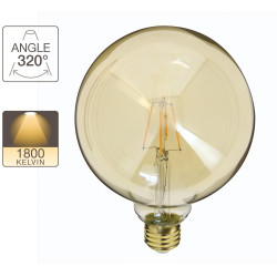 LED Globe bulb (G125) / Vintage in amber glass, E27 base, 3.8W cons. (30W eq.), 350 lumens, warm white light