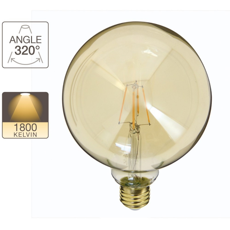g125 globe bulb e27 base vintage filament xanlite store. Black Bedroom Furniture Sets. Home Design Ideas