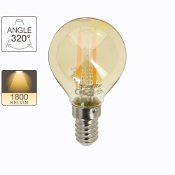 LED bulb (P45) / Vintage amber glass, E14 base, 3.8W cons. (30W eq.), 350 lumens, warm white light