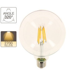 G125 LED filament bulb, E27 base, 10.6W cons. (100W eq.), warm white light