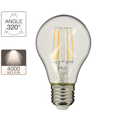A60 LED filament bulb, E27 base, 4W cons. (40W eq.), neutral white light