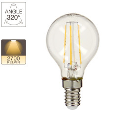 P45 LED filament bulb, E14 base, 4W cons. (40W eq.), warm white light