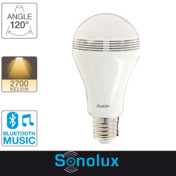 Ampoule LED SONOLUX, cuLot E27, 6,8W cons. (28W eq.), haut parleur bluetooth