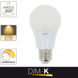 Ampoule LED A60, culot E27, 11,2W cons. (75W eq.), lumière blanc chaud, dimmable par switch 10% - 50% -100%