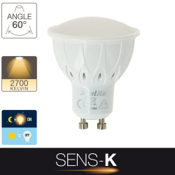 Ampoule LED spot, culot GU10, 5W cons. (50W eq.), intensité lumineuse automatique