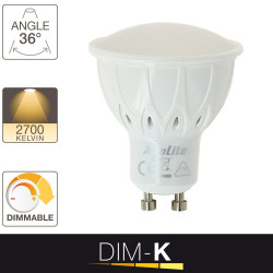 Ampoule LED spot, culot GU10, 6W cons. (50W eq.), lumière blanc chaud, dimmable par switch 10% - 50% -100%