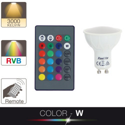 LED spotlight bulb - GU10 base - white and multi-coloured