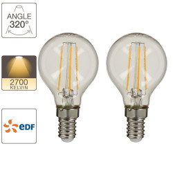 Set of 2 P45 light bulbs, E14 base, EDF