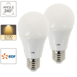 Set of 2 A60 LED light bulbs, E27 base, EDF