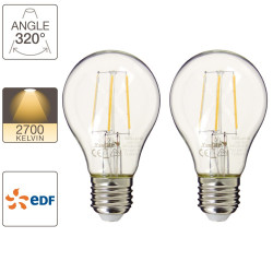 Lot de 2 ampoules Retro-LED A60, cuLot E27, EDF