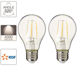 Set of 2 A60 light bulbs, E27 base, EDF
