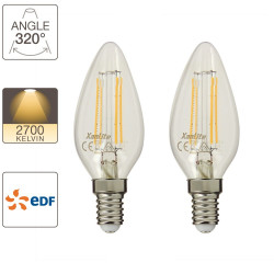 Set of 2 retro-LED flame bulbs, E14 base, EDF
