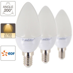 Set of 3 LED flame bulbs, E14 base, EDF