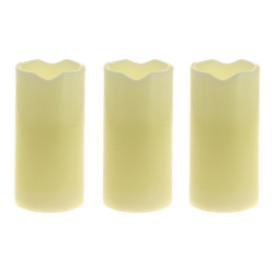 Set of 3 white LED WAX candles