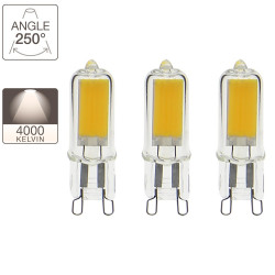 Set of 3 LED capsule light bulbs - G9 base - classic