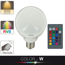 LED Color - W bulb, color changing, E27 base, 11W cons. (75W eq.), warm white or RGB light