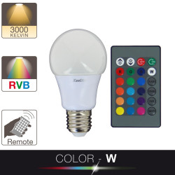 Ampoule LED A60 - culot E27 - blanc et multi-color