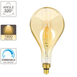Giant Drop LED decorative bulb (XXL) with amber glass, E27 base, 8W cons. (60W eq.), 800 lumens, warm white light