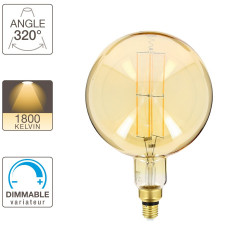 Giant Globe LED decorative bulb (XXL) with amber glass, E27 base, 8W cons. (60W eq.), 800 lumens, warm white light