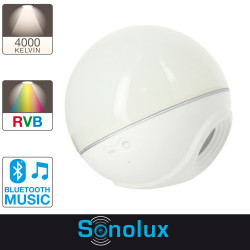 Sphère LED SONOLUX - blanc et multicolor - haut parleur bluetooth