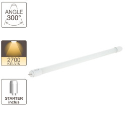 Tube à LED - cuLot G13 - 604 mm de long - blanc chaud -