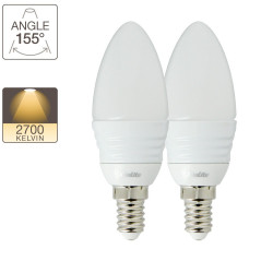 Lot de 2 flammes LED - culot E14 - équivalence 25W -