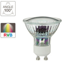 LED spot bulb, GU10 base, 0,5W cons. (n.c eq.), RGB light