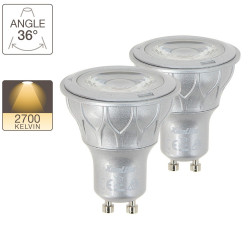 LED spot bulbs, GU10 base, 6,5W cons. (50W eq.), warm white light