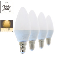 Set of 4 LED flame bulbs, E14 base, 5,5W cons. (40W eq.), warm white light