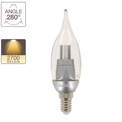 LED flame bulb, E14 base, 3,3W cons. (25W eq.), warm white light