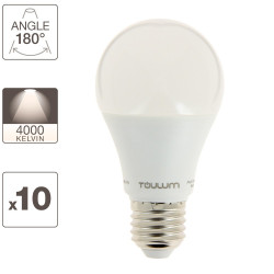Set of 10 A60 bulbs, E27 base, 60W eq (9W cons.), neutral light
